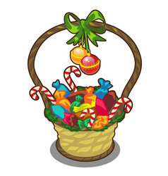 Christmas basket with candies lollipops and balls vector