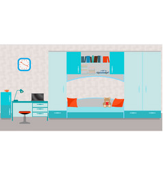 child room interior with bed table laptop vector image