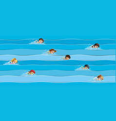 Children in swimming race vector