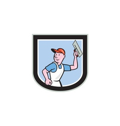 Plasterer masonry worker shield cartoon vector