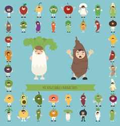 Set of 40 vegetable costume characters vector