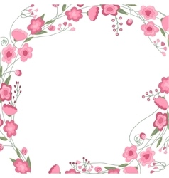 Detailed contour square frame with herbs roses vector