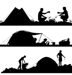 Camping foreground silhouettes vector image