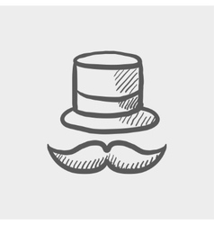 Vintage fashion hat and mustache sketch icon vector