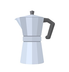colored flat style metal faceted coffee pot vector image