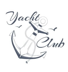 Anchor logo text yacht club vector