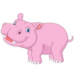 Cartoon baby hippo posing isolated vector