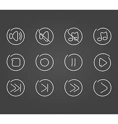 Sound multimedia icons draw effect vector