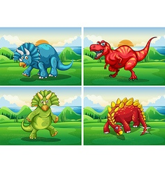 Four dinosaurs standing in the field vector image