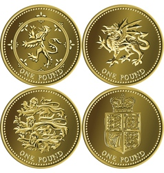 Set british money gold coin vector