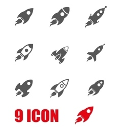 Grey rocket icon set vector