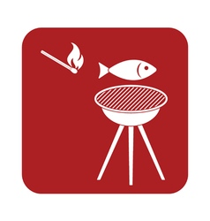 Grilled fish icon vector