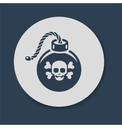 Bomb with skull and crossbones vector
