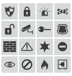 black security icons set vector image