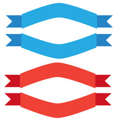 Blue and red ribbon banner on white background vector