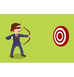 Businessman blindfolded archer cartoon vector