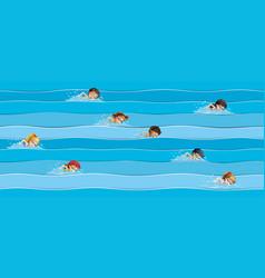 Children in swimming race vector
