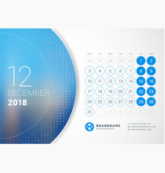 December 2018 desk calendar for 2018 year design vector