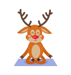 Deer yoga sitting on carpet meditating character vector