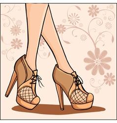 Elegant woman legs in ankle boot vector
