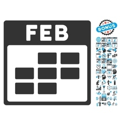 February Calendar Page Flat Icon With Bonus vector image vector image