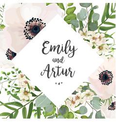 floral wedding invite card design eucalyptus vector image vector image