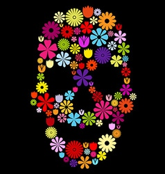 Flower skull in colors vector