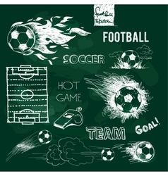 Football elements and ball on green chalkboard vector