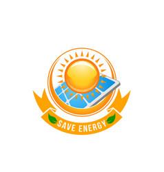 green solar green energy battery sun icon vector image vector image