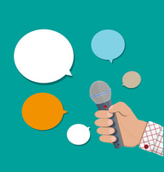 hand holding microphone and speech balloon vector image