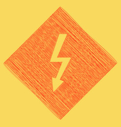 High voltage danger sign red scribble vector
