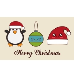 Kawaii penguin sphere and hat of christmas vector