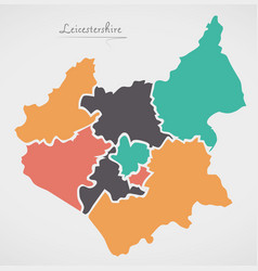 Leicestershire england map with states and modern vector