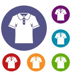 Men polo shirt icons set vector