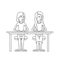 Monochrome silhouette with couple of women sitting vector