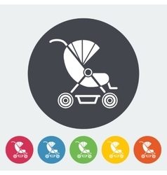 Pram flat icon vector image vector image
