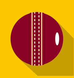 Red leather cricket ball icon flat style vector