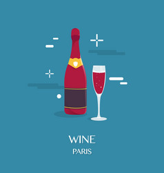 red wine beverage in paris design vector image vector image