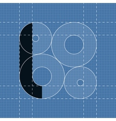 Round engineering font Symbol L vector image