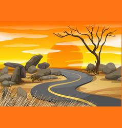 Scene with road at sunset vector