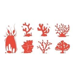 Sea aquarium coral silhouettes set vector