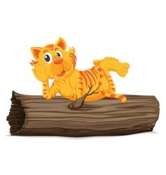 Tiger on a log vector image
