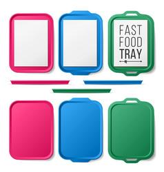 tray salver set empty plastic rectangular vector image
