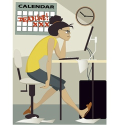Woman working under deadline vector
