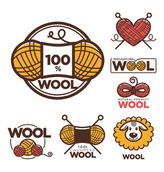 Wool labels or logo for pure 100 percent natural vector