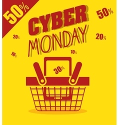 Cyber monday basket cellphone discount yellow vector