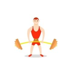 Cartoon man barbell exercises squat deadlift vector image