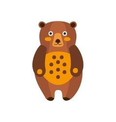 Toy brown bear standing camping and hiking vector