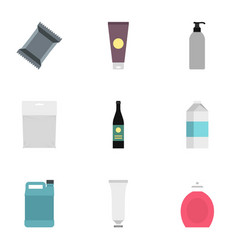 packaging icons set flat style vector image