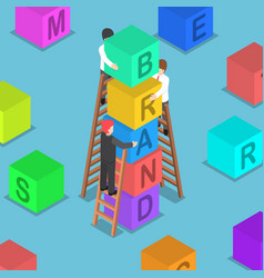 Isometric businessman building brand block vector